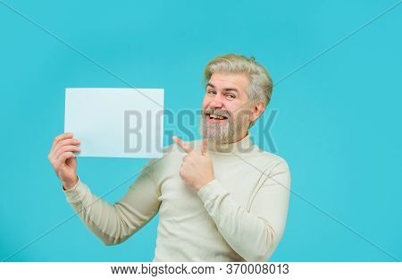 Advertising Board. Sale. Discount. Man With Blank Board. Man Points At Banner. Space For Your Text.