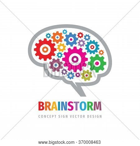 Brainstorm Gears Logo Template Design. Human Brain Concept Logo Sign. Creative Idea Logo Icon. Inspi
