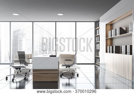 Side View Of Modern Ceo Office With Grey Walls, Tiled Floor, Wooden Computer Table With Chairs For V