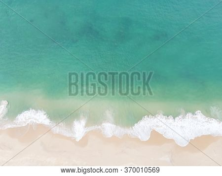 Aerial View Top View Beautiful Topical Beach With White Sand Coconut Palm Trees And Sea. Top View Em