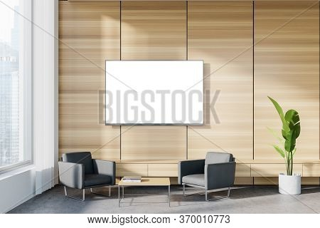 Interior Of Panoramic Corporate Office Waiting Room With White And Wooden Walls, Concrete Floor, Two