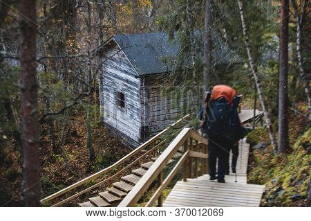 View Of Finnish National Park Oulanka With Wooden Wilderness Hut, Cabin Cottage, Wooden Suspension B