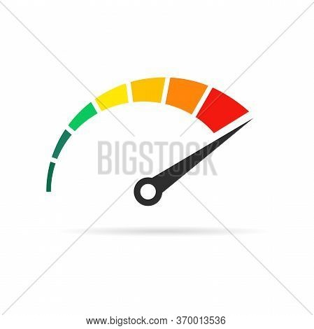 Speedometer Rating Set. Colored Speedometer Sign With Arrow.