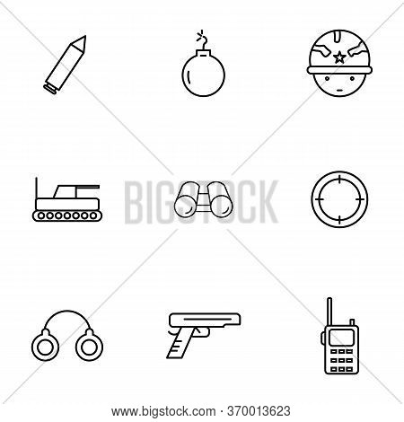 Army Icon Set Outline Style For Yourdesign.such As Army, Bullet, Military, War, Weapon,tank,soldier,