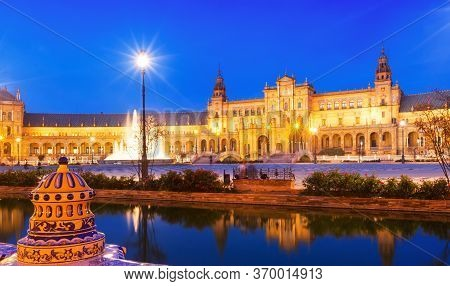 View Of Plaza De Espana In Night At Sevilla. Andalusia, Spain