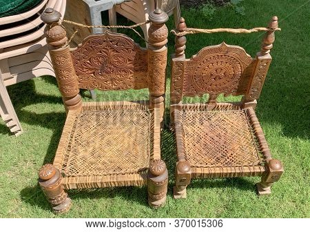 Old Handmade Traditional Wooden Chairs From Nothern Pakistan. Wood And Leather Craft.