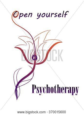 The Combination Of A Psychological Symbol Of Psi And A Flower. Design Concept For Psychotherapy. The