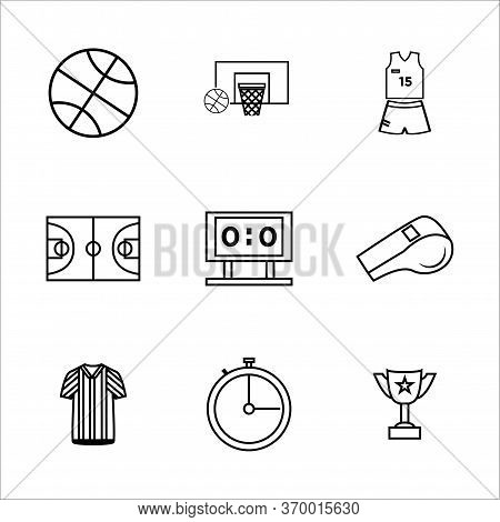 Basketball Icon Set Outline Style For Your Web Design, Logo, Ui. Illustration. Such As Basketball Ho