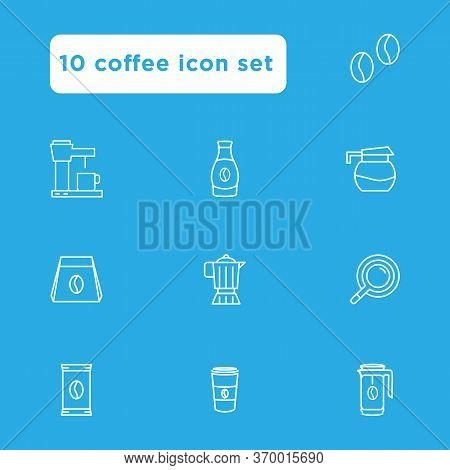 Coffee Icon Set Outline Stylefor Your Web Design, Logo, Ui. Illustration . Such As Coffee Beans, Bre
