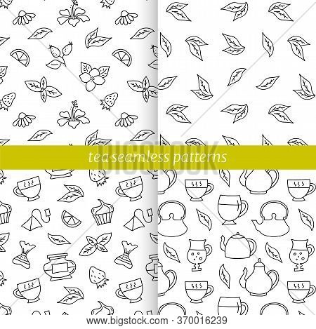 Tea Theme Seamless Hand-drawn Patterns. Vector Backgrounds.