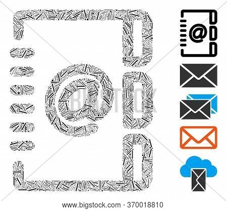 Line Mosaic Based On Address Email Icon. Mosaic Vector Address Email Is Created With Scattered Line