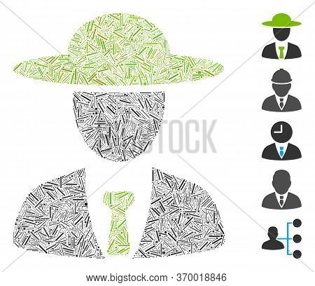 Dash Mosaic Based On Agronomist Chief Icon. Mosaic Vector Agronomist Chief Is Composed With Random D