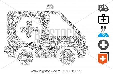 Line Mosaic Based On Ambulance Van Icon. Mosaic Vector Ambulance Van Is Created With Randomized Line