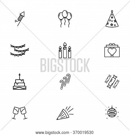 Party Birthday Icon Set Outline Style For Your Design. Such As Firework, Party, Rocket,ballon Party,