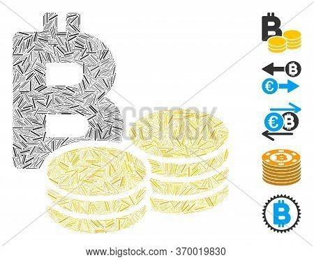 Line Mosaic Based On Bitcoin Coins Icon. Mosaic Vector Bitcoin Coins Is Created With Randomized Line