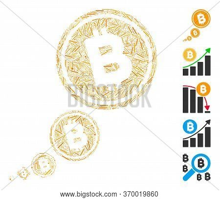 Hatch Mosaic Based On Bitcoin Inflation Icon. Mosaic Vector Bitcoin Inflation Is Designed With Rando