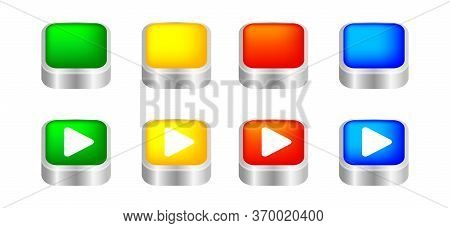 Button Square 3d Shape For Buttons Games Play Isolated On White, Colorful Modern Buttons Simple And