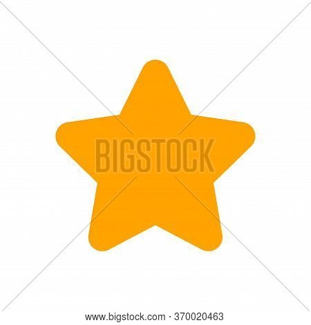Orange Star Shape Sign Isolated On White, One Star Cute Yellow Gold Color, Star Icon For Clip Art Gr