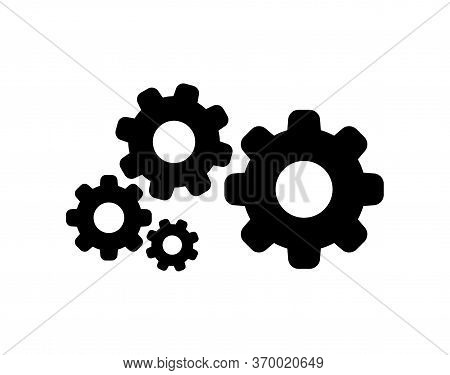 Circle Cog Black For Mechanization Icon Isolated On White, Gear Symbol For Icon, Circle Cog Shape Fo