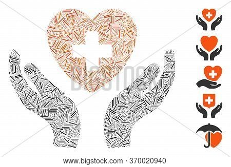 Dash Mosaic Based On Cardiology Care Hands Icon. Mosaic Vector Cardiology Care Hands Is Formed With