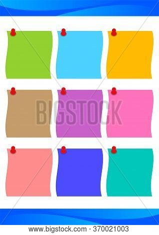Template A4 With Paper Note Colorful For Message, Paper Sheet Post Blank And Sticky Pin For Copy Spa