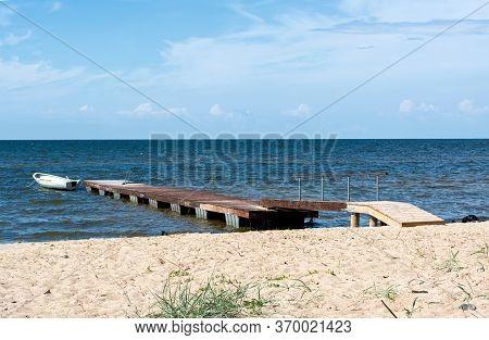 Baltic Sea Shore In Latvia. Typical Baltic Seascape