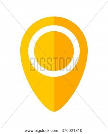 Pin Point Symbol Orange For Icon Isolated On White, Modern Pin Circle For Location Icon Marker, Simp