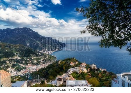 Landscape Of The Amalfi Coast In A Sunny Day With Beautiful Cloudy Sky. View From The Terrace Of Rav