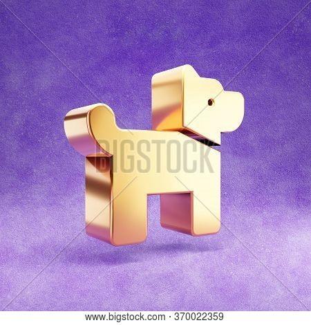 Dog Icon. Gold Glossy Dog Symbol Isolated On Violet Velvet Background. Modern Icon For Website, Soci