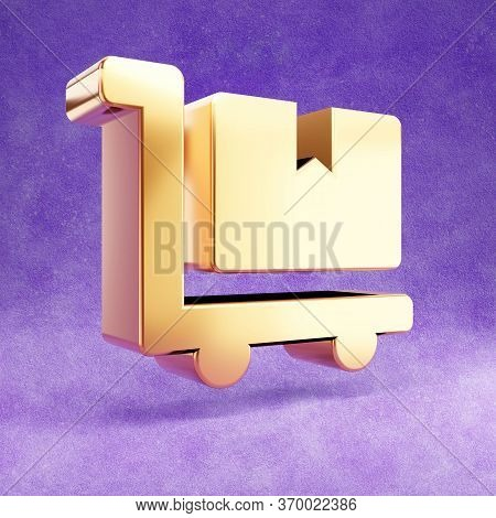 Dolly Flatbed Icon. Gold Glossy Dolly Flatbed Symbol Isolated On Violet Velvet Background. Modern Ic