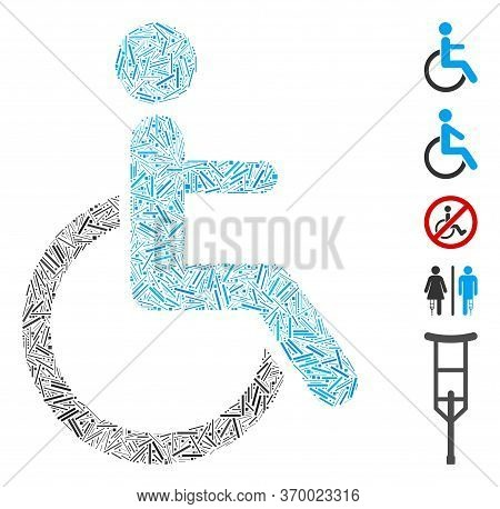 Hatch Mosaic Based On Disabled Person Icon. Mosaic Vector Disabled Person Is Designed With Random Ha
