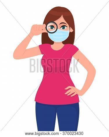 Young Girl In Medical Face Mask, Looking Through Magnifying Glass. Woman Holding A Magnifier. Female