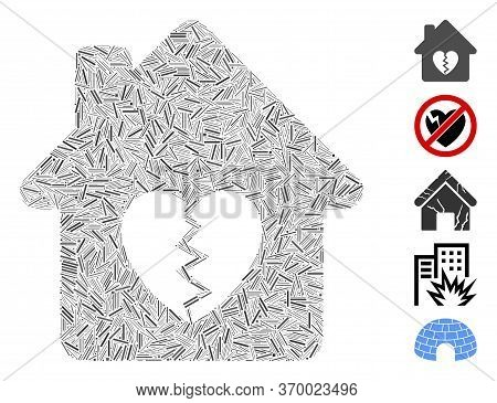 Hatch Mosaic Based On Divorce House Heart Icon. Mosaic Vector Divorce House Heart Is Composed With R
