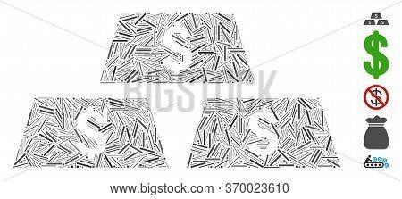 Line Mosaic Based On Dollar Bullion Bars Icon. Mosaic Vector Dollar Bullion Bars Is Formed With Rand