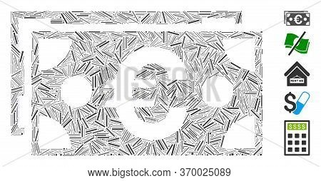 Line Mosaic Based On Euro Banknotes Icon. Mosaic Vector Euro Banknotes Is Designed With Randomized L
