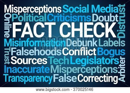 Fact Check Word Cloud on Blue Background