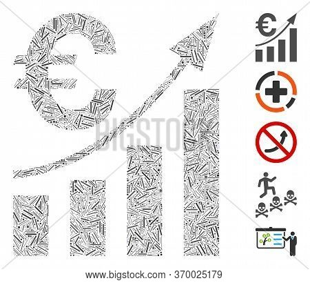 Line Mosaic Based On Euro Bar Chart Trend Icon. Mosaic Vector Euro Bar Chart Trend Is Composed With