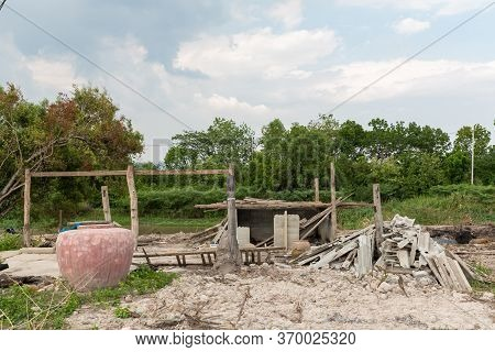 Rubble Of Collapsed Building Post-earthquake. Many Walls Of Buildings Were Collapsed As The Impact O