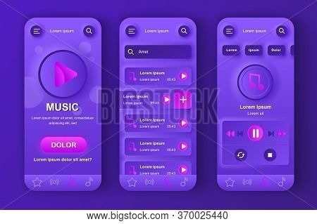 Music Player Unique Neumorphic Design Kit For App. Favorite Playlist With Tracks, Search Music And A