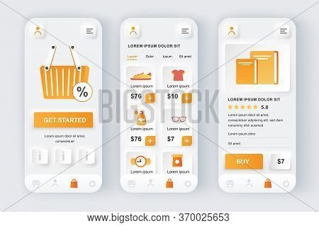 Shopping Solution Unique Neumorphic Design Kit. Shopping App For Food, Clothing, Footwear With Disco