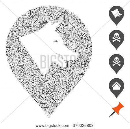 Line Mosaic Based On Evil Dog Marker Icon. Mosaic Vector Evil Dog Marker Is Formed With Randomized L