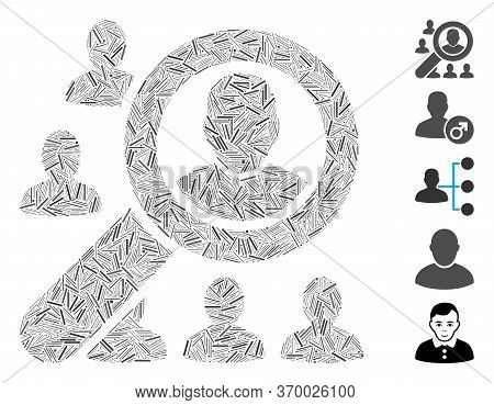 Line Mosaic Based On Find User Icon. Mosaic Vector Find User Is Composed With Randomized Line Items.