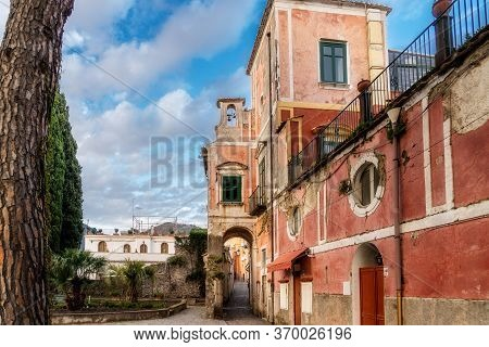 Old Red Building In The Old Town Of Ravello, Amalfi Coast, Campania, Naples, Italy. High Quality Pho