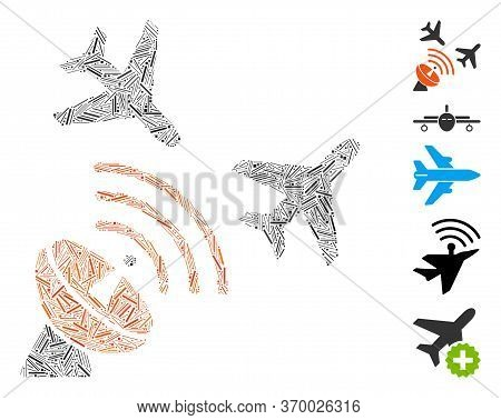 Hatch Mosaic Based On Flight Radar Icon. Mosaic Vector Flight Radar Is Designed With Scattered Hatch