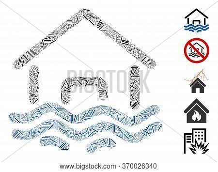 Line Collage Based On Flood Disaster Icon. Mosaic Vector Flood Disaster Is Created With Random Line