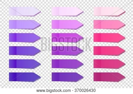 Realistic Sticky Notes Collection. Arrow Flag Tabs. Post Note Stickers. Colorful Sticky Paper Sheets