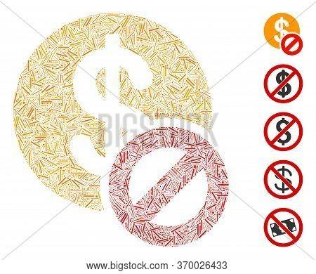 Dash Collage Based On Forbidden Dollar Icon. Mosaic Vector Forbidden Dollar Is Created With Randomiz