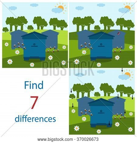 Maze Game For Children On The Theme Of Nature And Bees, Find 7 Differences Between Pictures, Color V