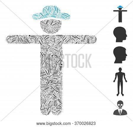 Dash Mosaic Based On Gentleman Scarescrow Icon. Mosaic Vector Gentleman Scarescrow Is Composed With