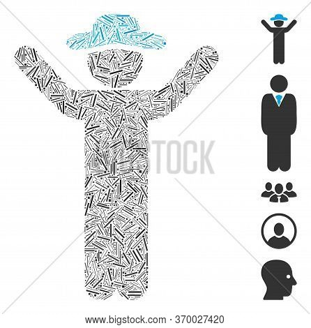 Line Mosaic Based On Hands Up Gentleman Icon. Mosaic Vector Hands Up Gentleman Is Designed With Rand